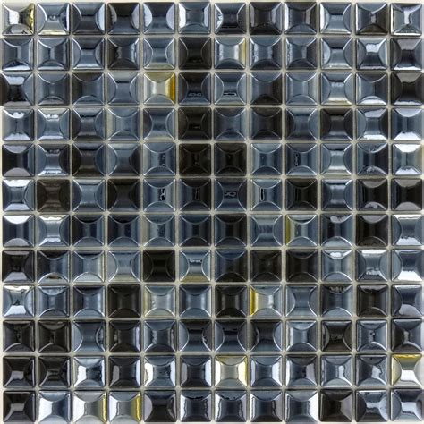 recycled    black glass square tile glossy lag