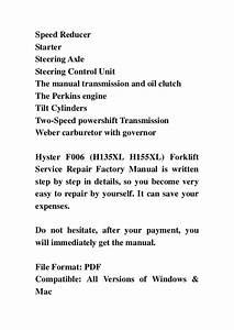 Hyster F006  H135 Xl H155xl  Forklift Service Repair