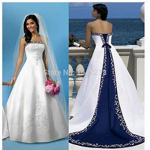 white and royal blue wedding dress embroidery long train With royal blue wedding dresses plus size