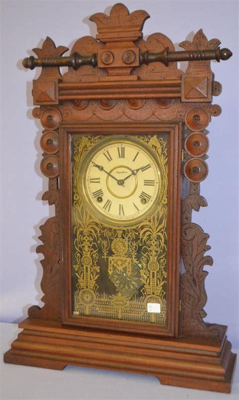 antique ingraham walnut ingot kitchen clock