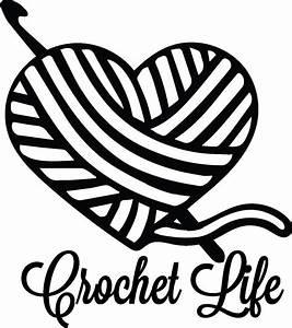 Crochet Life Yarn Hook Heart digital for decal for car