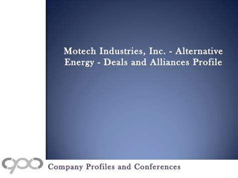 motech industries inc alternative energy deals and