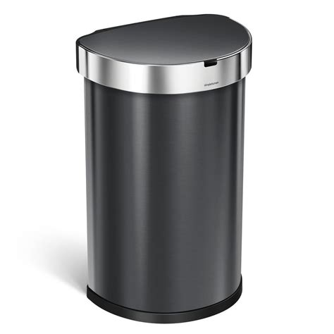 Metal Bathroom Garbage Can by Simplehuman 45 L Black Stainless Steel Semi Sensor