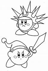 Kirby Coloring Pages Sword Needle Kidsplaycolor Colouring Play Sheets Bros Headphone Listening Music Smash Super Characters sketch template