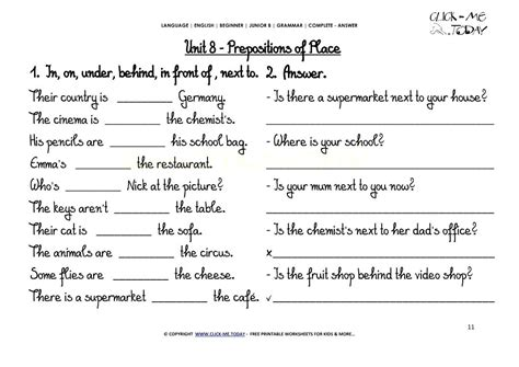 prepositions of place worksheets relaxion info