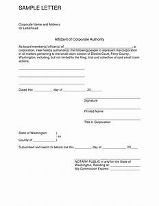 printable affidavit of corporate authority form template With template for an affidavit