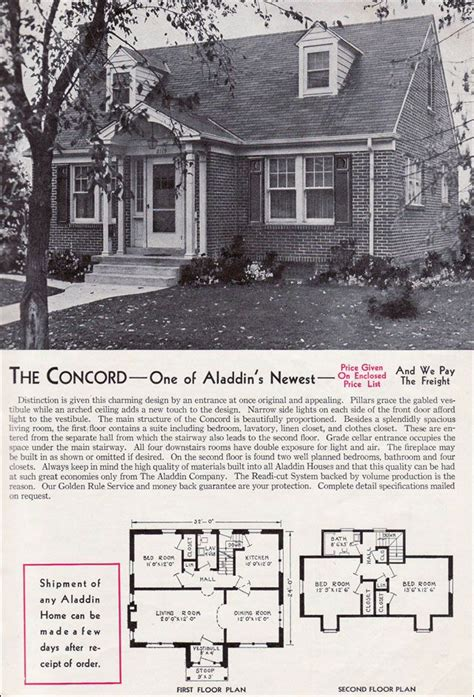 aladdin kit homes  concord vintage house planss pinterest  house real