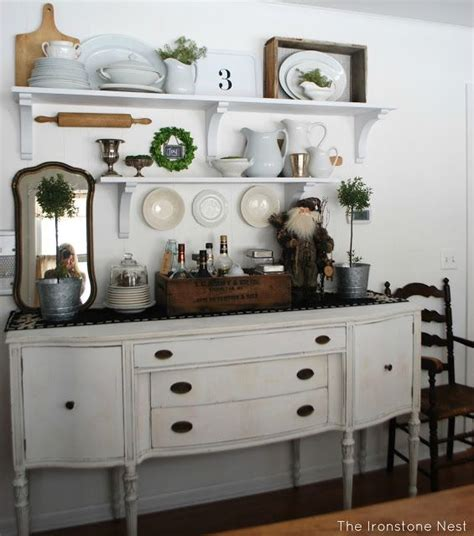 This will prevent a traffic jam. Dining Room Shelving Idea with Antique Buffet   Dining room shelves, Farmhouse dining room ...