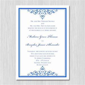 royal blue wedding invitation template editable With free printable wedding invitations royal blue