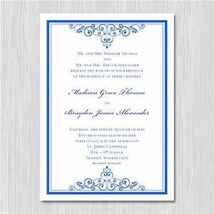 royal blue wedding invitation template editable With wedding invitation cards blank templates royal blue