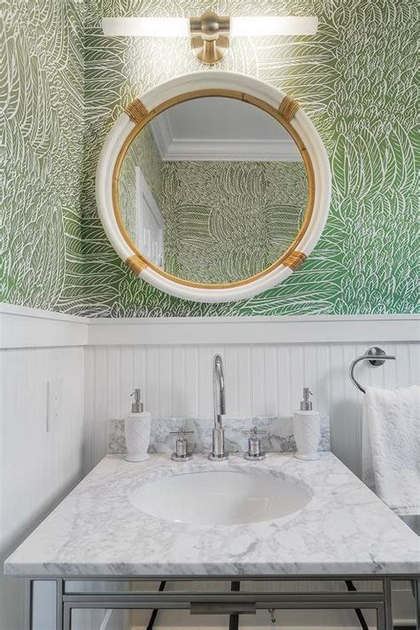 White and Green Powder Room with Beadboard Trim Transitional Bathroom