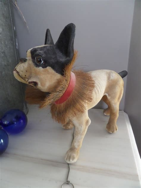 antique french papier mache bulldog