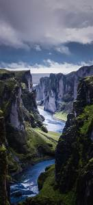 River, Between, Hills, Wallpaper