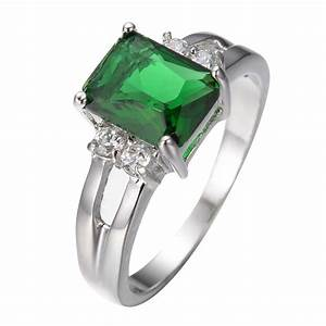 size 5 10 green emerald zircon ring women39s 10kt white With emerald wedding rings for women