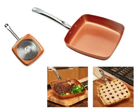copper chef  square nonstick fry pan cook kitchen cookware    tv ebay