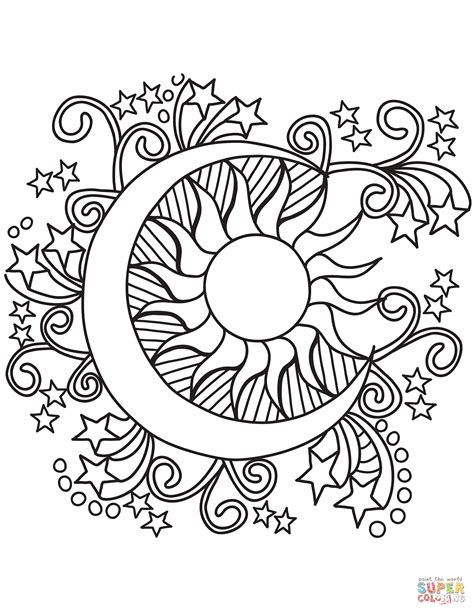 pop art sun moon  stars coloring page