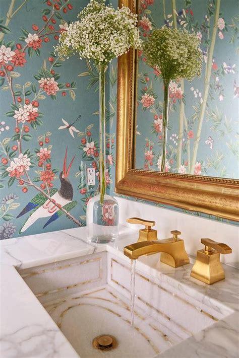 white  blue chinoiserie powder room  pagoda mirror