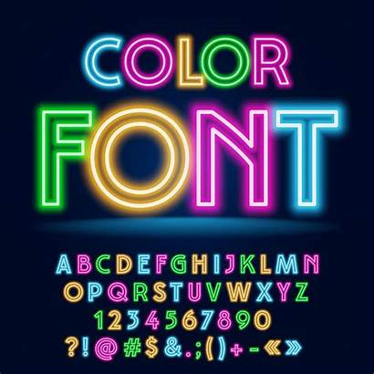 Neon Font Vector Glow Party Funny Colorful