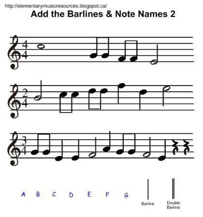 Bar lines tell us where bars, or measures, begin and end. Students add bar lines and note names on the 5-line staff ...