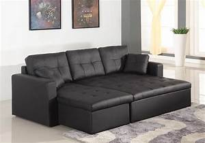 Grand Canapé D Angle Convertible : canap d 39 angle convertible cuero noir ~ Melissatoandfro.com Idées de Décoration