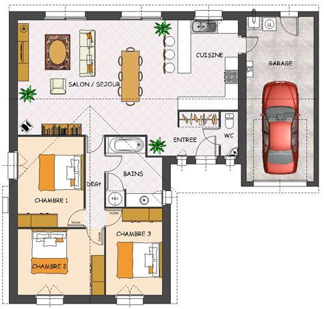 plan de maison 3 chambres plain pied plan maison plain pied 3 chambres 3d maison moderne