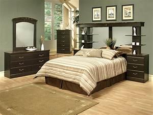 4 piece espresso finish queen wall unit bedroom set for Wall unit bedroom furniture