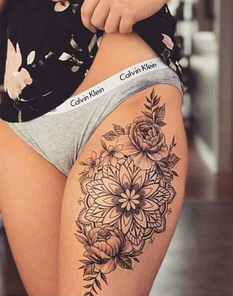 floral mandala thigh tattoo tattoos mandala thigh