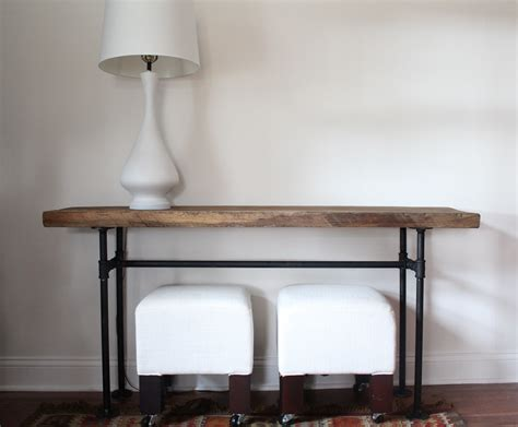 live edge console table metal legs diy black pipe console table handmaidtales