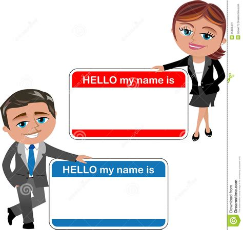Business Woman And Man Introducing Theirself Stock Vector