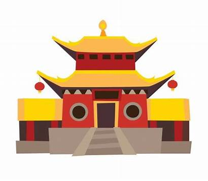 Cartoon Vector Background Icon Temple Chinese China
