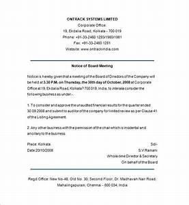 board of directors meeting notice template templates With annual board of directors meeting minutes template