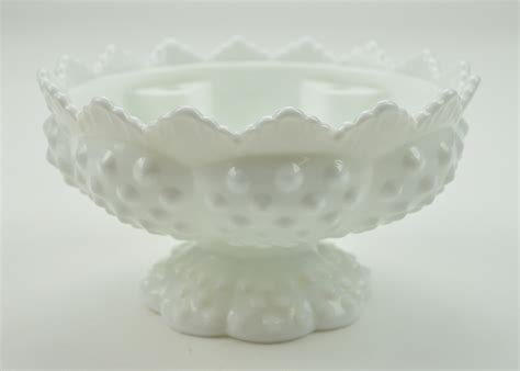 fenton milk glass vintage fenton art glass candle bowl epergne base hobnail
