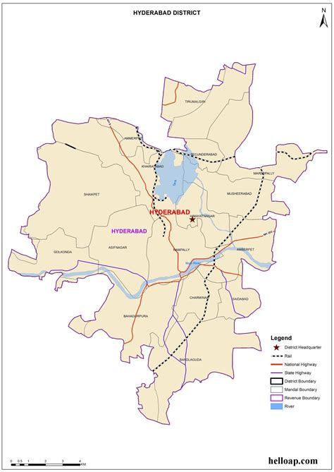hyderabad district map map  hyderabad district