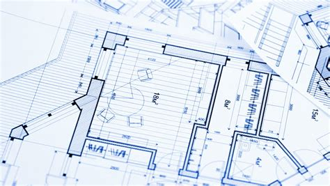 Architecture House Plan Background. Blueprint Animation
