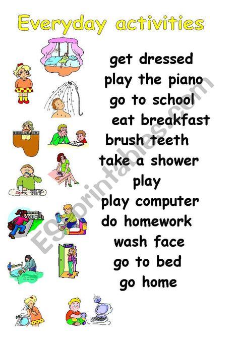 everyday activities esl worksheet  julita