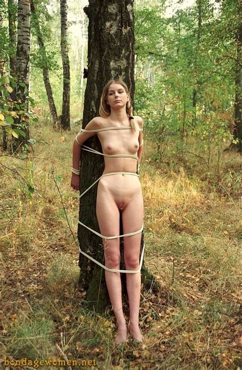 bondage public punishment forest in the woods bdsm outdoor teen blonde tied shaved humiliation