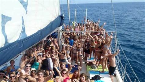 Catamaran Booze Cruise Barcelona by Barcelona Boat Party Frolic In The Rigging With Dj