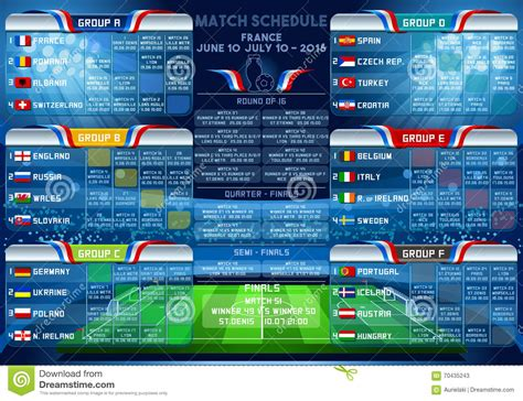 cup euro  finals schedule stock vector image