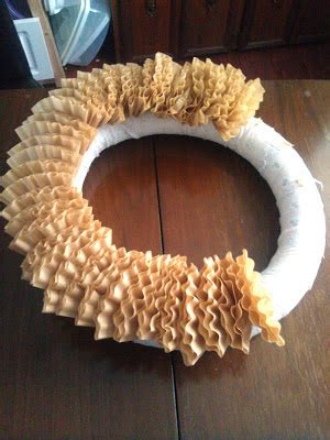 Paint brush, chopstick or pencil. .: Christmas Coffee Filter Wreath