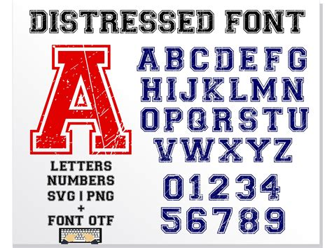 Varsity Distressed font letters numbers OTF   SVG by ...