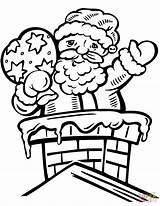 Coloring Santa Pages Chimney Olds Printable Happy Claus Drawing Through Paper sketch template