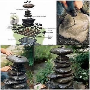 Diy, Stacked, Rock, Fountain, Guide