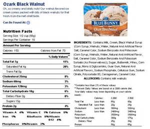 ice cream nutrition fact label