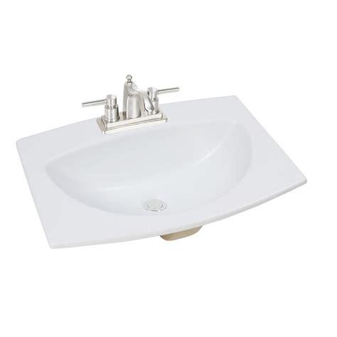 glacier bay 24 inch w x 18 inch d rectangular drop in bathroom sink in matte white the home