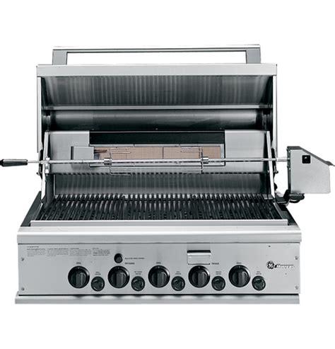 ge monogram  outdoor cooking center   grill burners rotisserie smoker  rack