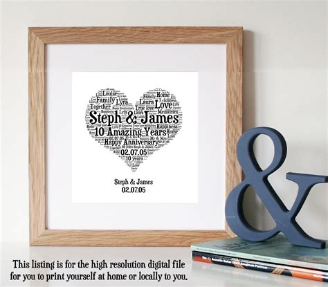 10th anniversary gift ideas personalised 10th anniversary gift word art by wordlydesigns