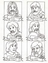 Apostles Twelve Disciples Coloring Jesus Bible Sunday Disciple Children Sheet Lessons Church Crafts Coloringhome Printable Colouring Catholic Peter Apostle His sketch template