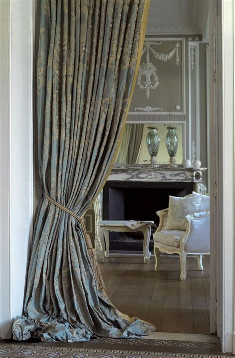 drapery curtain drapery with puddle traditional style blue damask silk