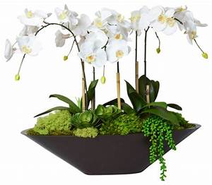 Orchid in Large Metal Boat - Traditional - Artificial
