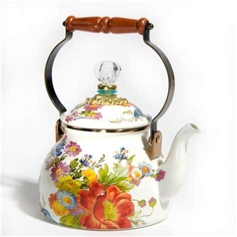 MacKenzie Childs Flower Market 2 Qt Tea Kettle White Tea